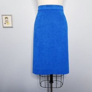 Vintage cobalt blue faux suede pencil skirt